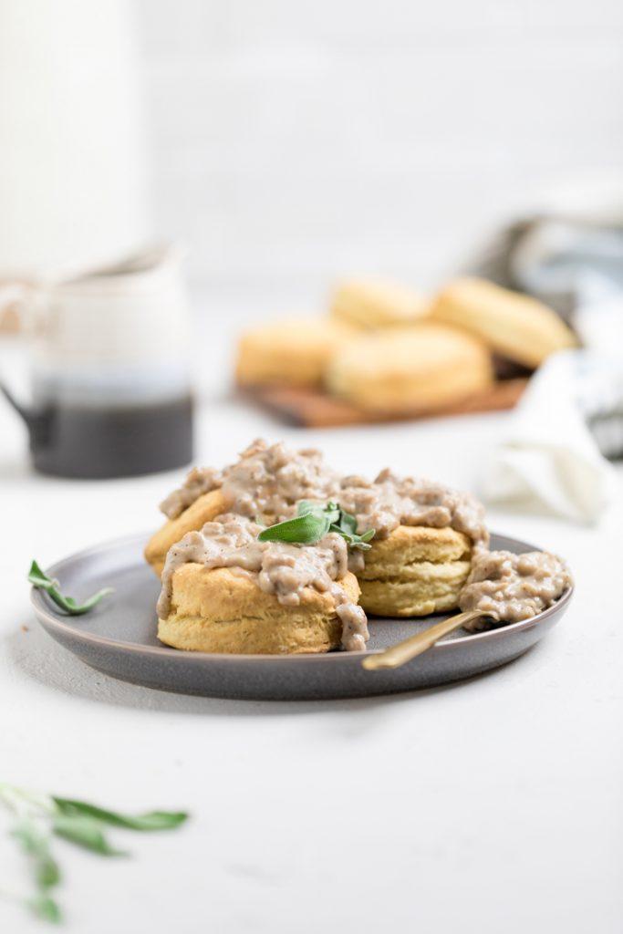 Vegan Sausage Gravy and Biscuits (Dairy Free) - Make It