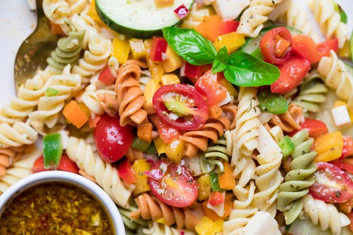 close up of vegan pasta salad