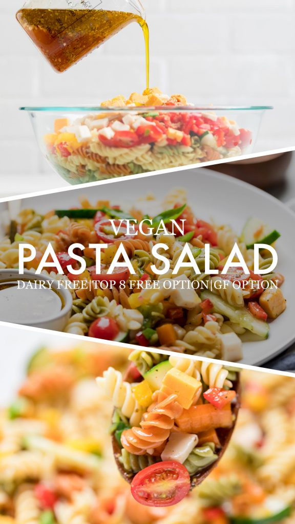 collage of 3 images of vegan pasta salad with the words written over that says: vegan pasta salad dairy free top 8 free option gf option