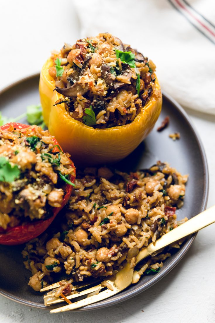 Tuscan Style Vegan Stuffed Peppers - Make It Dairy Free