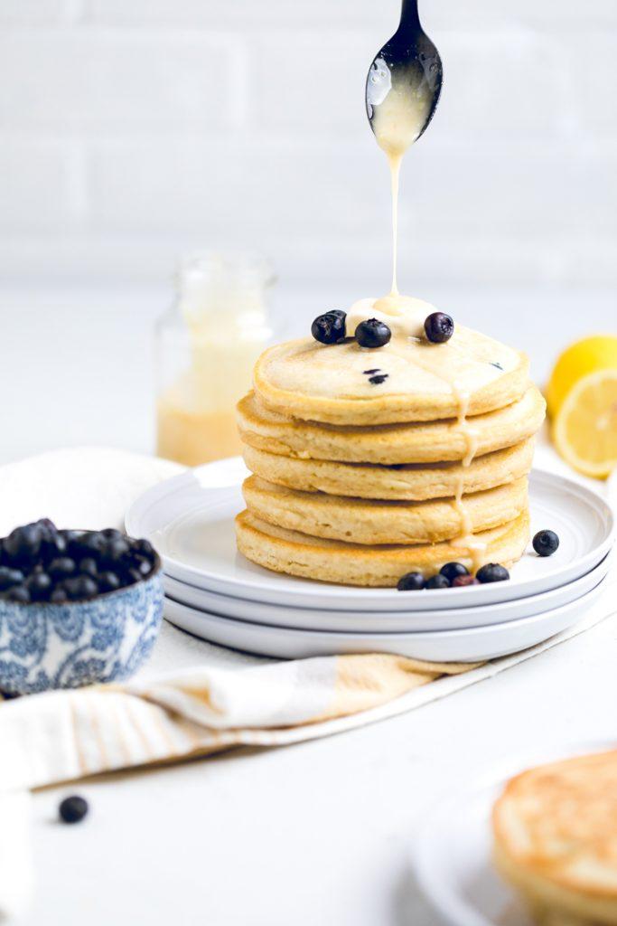 stack of vegan lemon blueberry pancakes