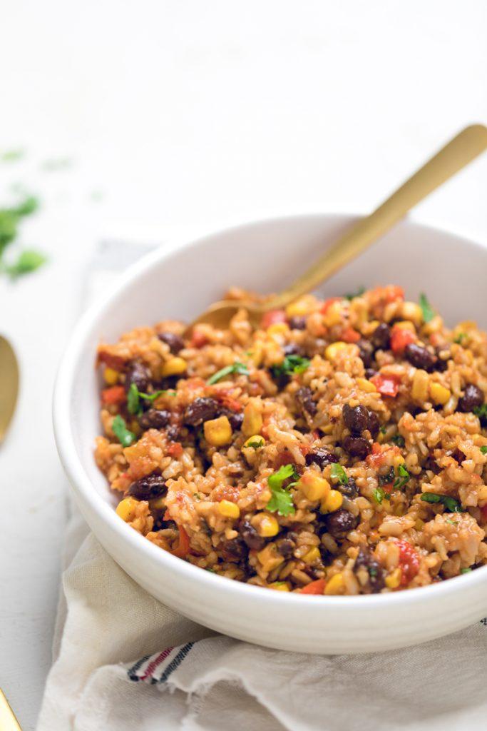 vegan instant pot tex mex rice in a white bowl