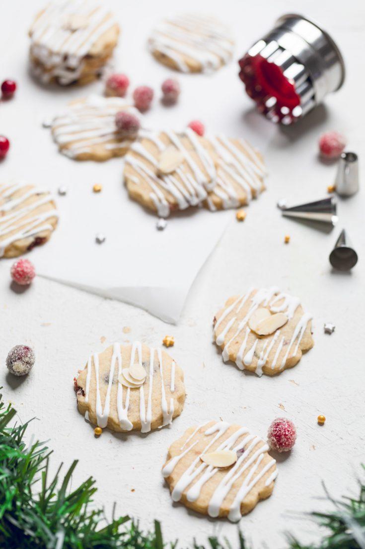 Cranberry Almond Vegan Shortbread Cookies