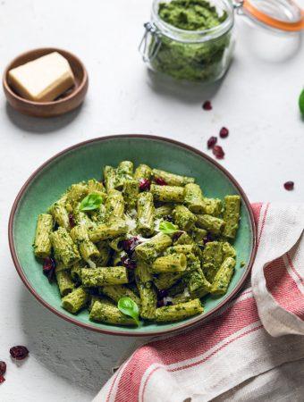 Vegan Pesto Pasta with Cranberries