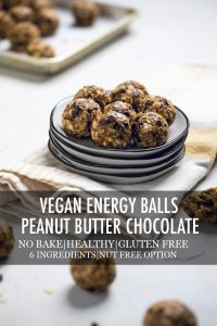 vegan energy balls with peanut butter and chocolate chips