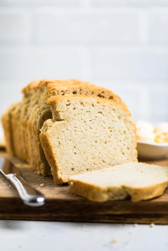 loaf of yeast free vegan bread sliced