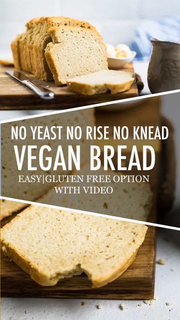 vertical image collage of loaf of yeast free vegan bread sliced with the title overlayed