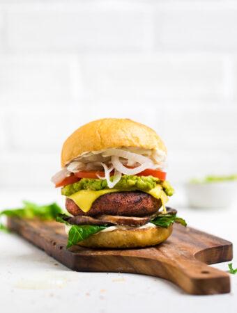 high protein vegan burger on a cutting board