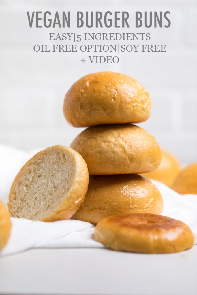 Stack of 3 vegan hamburger buns with title on photo.