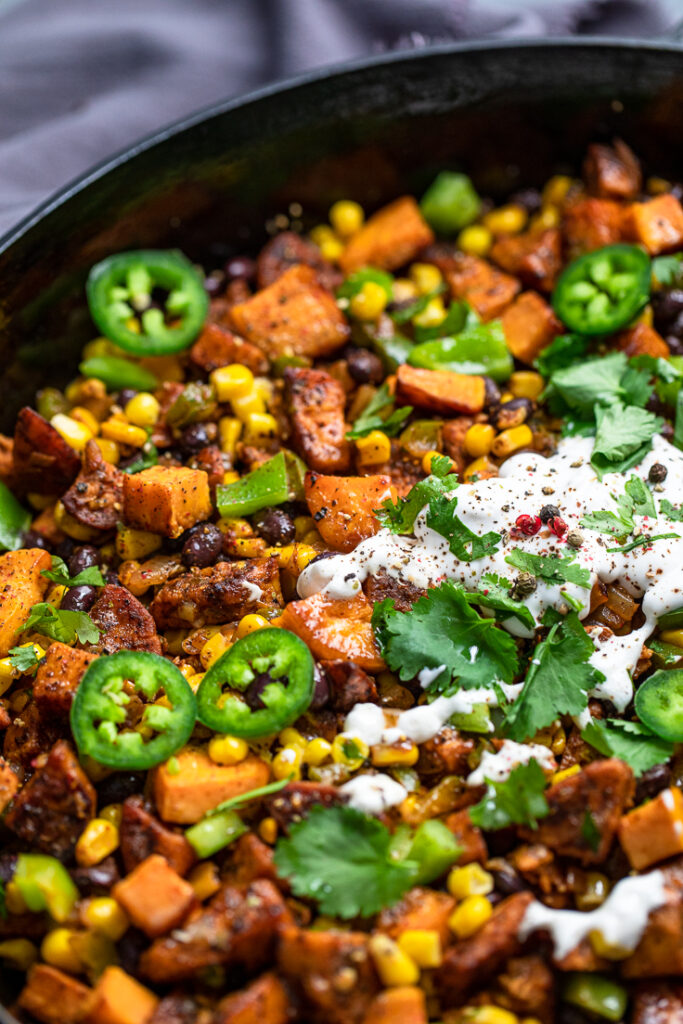 Zoomed in photo of Vegan Mexican Sweet Potato Breakfast Hash