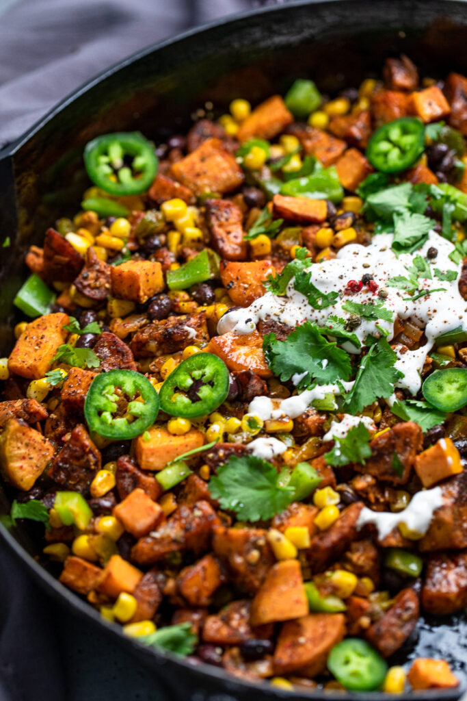 close up shot of Vegan Mexican Sweet Potato Breakfast Hash