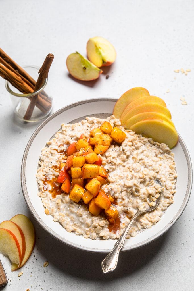 bowl of vegan cinnamon apple oatmeal